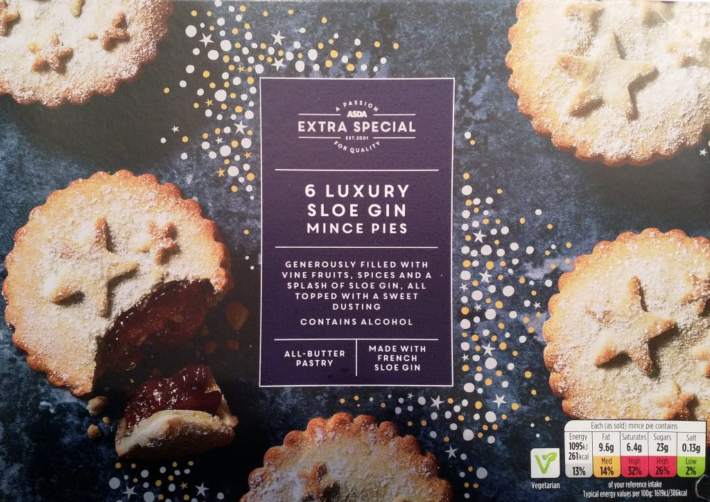 2019 ASDA Extra Special Luxury Sloe Gin Mince Pies Box 1