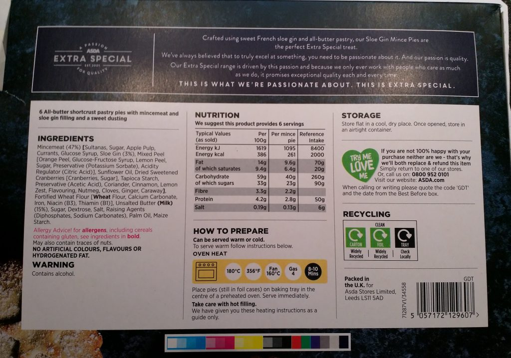 2019 ASDA Extra Special Luxury Sloe Gin Mince Pies Box 2